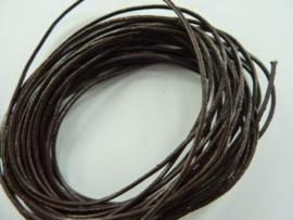 2 meter echt leren veter donkerbruin van 1mm dik - AA kwaliteit - SUPERLAGE PRIJS!