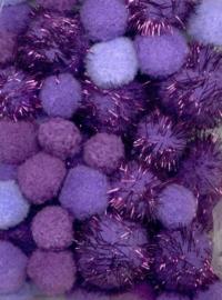 CE800600/3306- 50 stuks pompoms van 2 tot 3.5cm lila/paars glitter