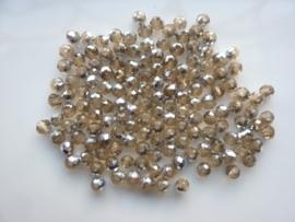 3918- ca. 145 stuks geslepen glaskralen van 4x3mm lichtoker zilverplated - SUPERLAGE PRIJS!