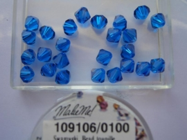 109106/0100 - 25 x swarovski 6mm capri blauw