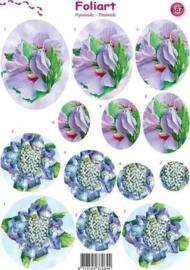 667- pyramide knipvel Foliart bloemen paars/blauw A4 -117149/0687