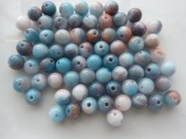 3788- 65 tot 70 stuks naturel Jade mineraal kralen van 6mm zalm/bruin/creme/blauwmix