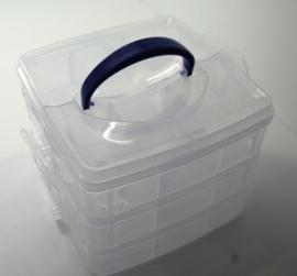 JOY6200/0078- opberg box 3-laags met 18 vakken 14.5x14x12.3cm