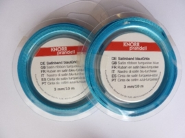 006302/0033- 10 meter satijnlint van 3mm breed op een rol blauw/turkoois
