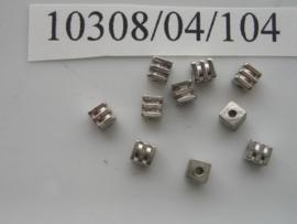 10 x metalen kralen 4x4 mm 10308/04/104