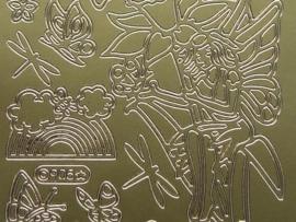 st 243- flower fairies goud 10x20cm