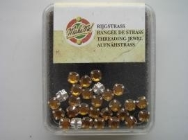 107007/0002- 12 stuks glazen rijg/naai strass steentjes 7mm rond kristal topaz