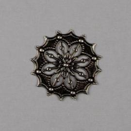 117464/9852- 3 x ornamenten rond bloem 43mm zilver
