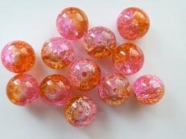 4088- 12 stuks qraccle glaskralen van 10mm oranje/roze/cerise