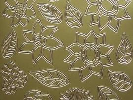 st720- sticker met diverse bloemen en blaadjes goud 10x20cm