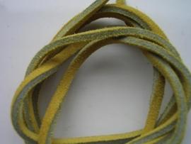 echte suede veter 3.5mm plat - geel
