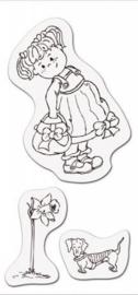 CE001883/3706- clear stamp meisje met tas 8x16cm