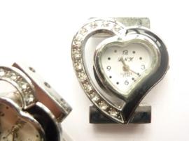 CH.001-1- horloge uurwerk met strass steentjes hartvorm 30z34mm - SUPERLAGE PRIJS!