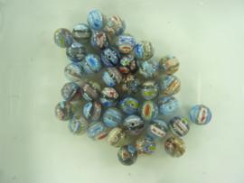3286 - 38 stuks millefiori glaskralen 10 mm. rond