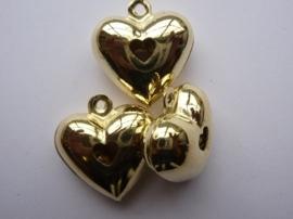 8609 705- 1 x belletje in hartjesvorm 3x3x1.4cm goudkleur (messing) AA