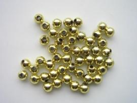 053- ca. 60 x kunststof kralen 6mm groenig-goud opruiming