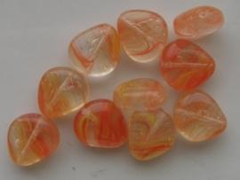 3283- 10 x tsjechische glaskralen 15x13x7mm oranje gemarmerd