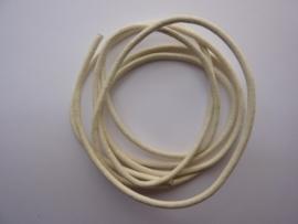 1 meter echt leren veter  wit van 2mm dik - AA kwaliteit - SUPERLAGE PRIJS!