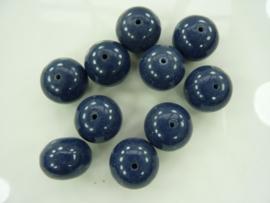 00040- 10 stuks kunststof kralen van 12x15mm donkerblauw OPRUIMING