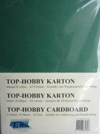 25- 20 vellen kaartkarton A5 formaat voor dubbele kaarten ca.225grams donker groen