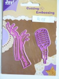 0002459- Joy Crafts stencil microfoon en handschoenen OPRUIMING