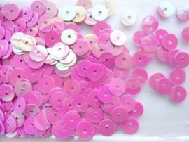 118372/456- 10gram gladde pailletten van 8mm in parelmoer fuchsia (grote hoeveelheid!)