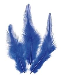 006621/0350- 16 stuks hanenveren van 6 - 10cm blauw