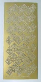 St747- stickervel met rozetten Leane goud 10x23cm - 121001/2419