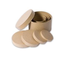 1929 2900- 5 stuks eco shapes stevige decoratie ronde dozen set van papier mache 14x8cm