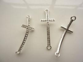 CH.018- metalen armband ornament kruis 45x15mm zilver SUPERLAGE PRIJS!