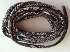 PU.03- 3 meter imitatieleren koord slangenprint zwart/bruin 4mm