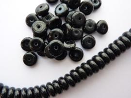 8x3.5mm AA-kwaliteit glaskralen spacers zwart 30 stuks-3688- EXTRA LAGE PRIJS!