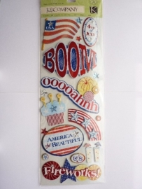 "5600- K&Co grand adh. chipboard 3D stickers ""4th of July"" 30x12cm"