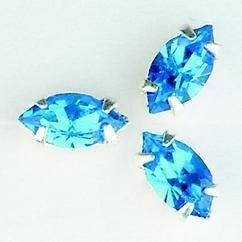 107010/0006- 8 stuks glazen rijg/naai strass steentjes 10x5mm navette kristal sapphire