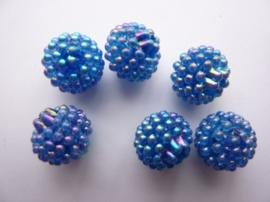 3997- 6 stuks strassballen 14mm blauw AB