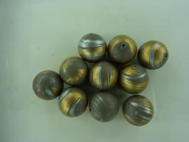 00071- 10 stuks gemarmerde kunststof kralen van 15mm grijs/goud - OPRUIMING