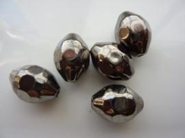 7322- licht metalen kraal met facetten 22x16mm antraciet