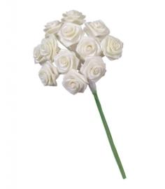 6547 010- 12 stuks roosjes van 10cm lang en 1.5cm breed creme