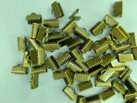 CH.144.10- 10 x lintklemmetjes van 10mm breed geel brons kleur