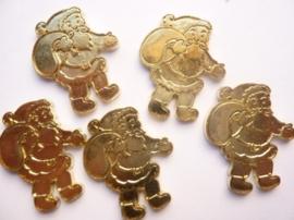 0005220.2- 5 stuks metalen charms kerstman van ca.3.5cm goudkleur OPRUIMING