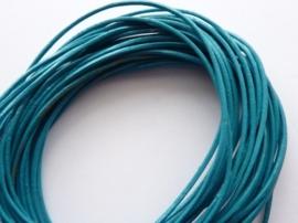 5 meter echt leren veter 1mm dik blauw turquoise