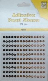 CE142010/2405- 150 stuks zelfklevende halfronde parels van 4mm goud tinten