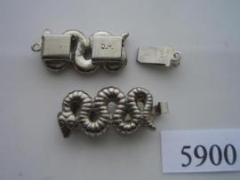 """5900- 1 rij luxe siersluiting """"slang"""" 26x12mm staalkleur"""