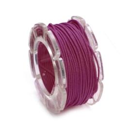KN2290 462- 5 meter waxcord met nylonkern paars/roze 1mm dik