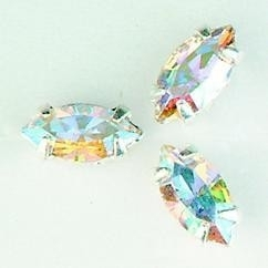 107010/0051- 8 stuks glazen rijg/naai strass steentjes 10x5mm navette kristal zilver AB