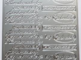 ST.1121- stickervel met tekst handmade by 10x23cm zilver