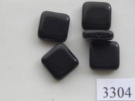3304- glaskraal 15.5x15.5x5mm zwart glans gat door breedte