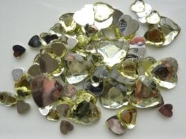 2282 0210- 80 x kunststof strass stenen assortiment hartjes van 8 tot 18mm lang geel