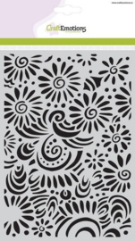 CE185070/1104- Craft Emotions mask stencil A5 bloemen met krullen