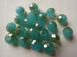 1258- 20 stuks AA-kwaliteit electroplated geslepen glaskralen 8x5mm jade